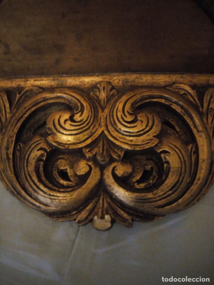 Antigüedades: Antigua mensula de madera recubierta de cerámica y pintada en oro,siglo xix - Foto 2 - 172781309
