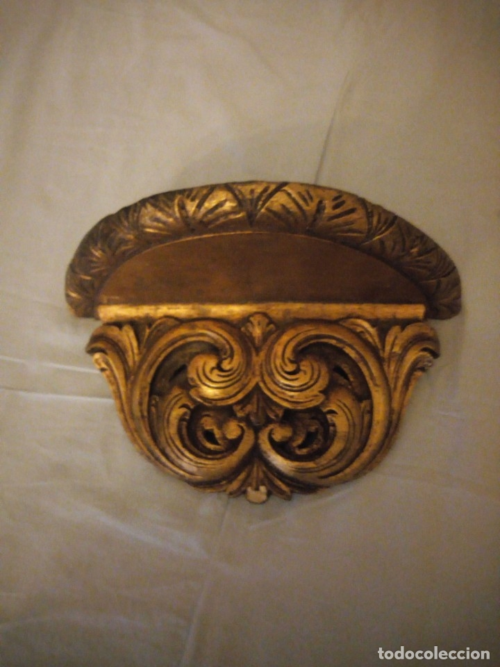 Antigüedades: Antigua mensula de madera recubierta de cerámica y pintada en oro,siglo xix - Foto 3 - 172781309