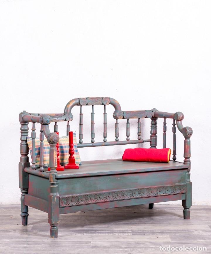 BANCO DE MADERA RESTAURADO EMERICK (Antigüedades - Muebles Antiguos - Sofás Antiguos)