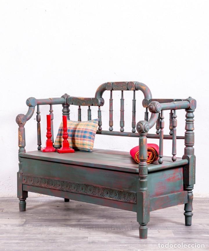 Antigüedades: Banco De Madera Restaurado Emerick - Foto 3 - 172826403