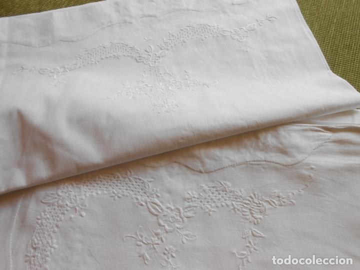 Antigüedades: Juego sabanas,colección antiqua años 80.Algodon puro,bordado a mano.Blanco.225 x 275 cm.Nuevo - Foto 2 - 172835198