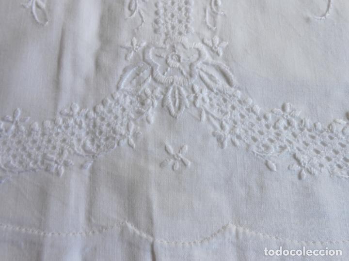 Antigüedades: Juego sabanas,colección antiqua años 80.Algodon puro,bordado a mano.Blanco.225 x 275 cm.Nuevo - Foto 5 - 172835198