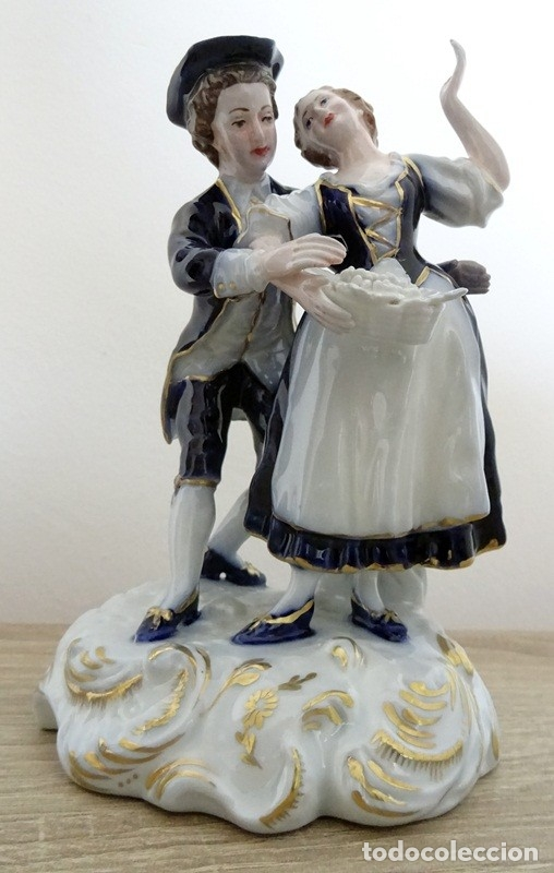 PAREJA EN PORCELANA HISPANIA (Antigüedades - Porcelanas y Cerámicas - Manises)