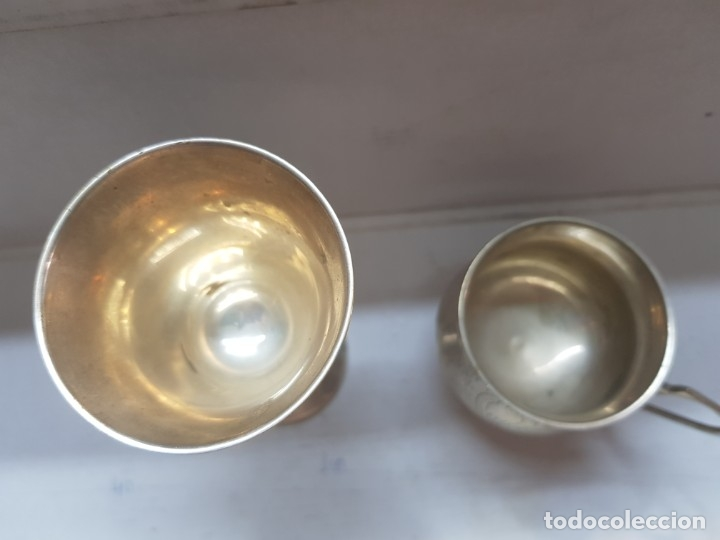 Antigüedades: Copa y jarra plata grabado a mano finales 1800 - Foto 2 - 172874883