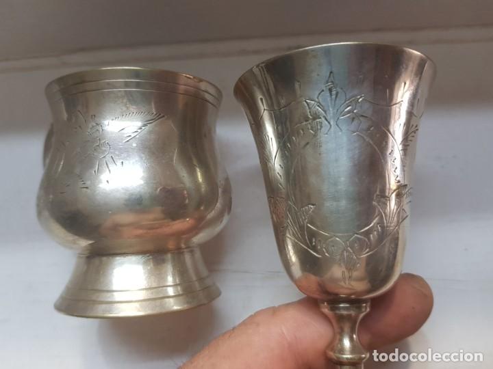 Antigüedades: Copa y jarra plata grabado a mano finales 1800 - Foto 5 - 172874883