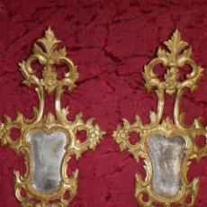 Antigüedades: PAREJA DE ESPEJOS CORNUCOPIAS SIGLO XIX. Lote 172891245