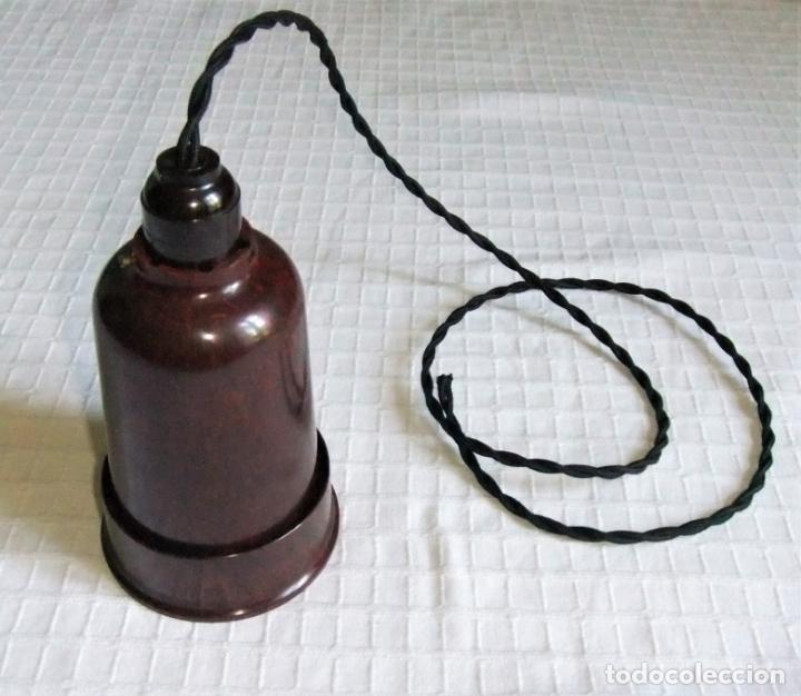 MUY ANTIGUA LÁMPARA FOCO DE BAQUELITA (Antigüedades - Iluminación - Lámparas Antiguas)