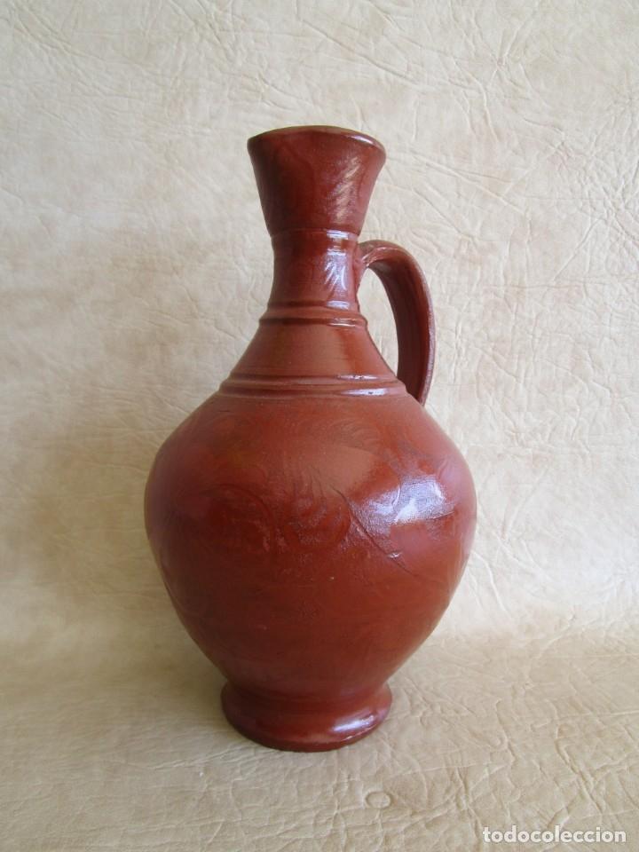 Antigüedades: jarra ceramica motivos florales 26 cm - Foto 3 - 172900207