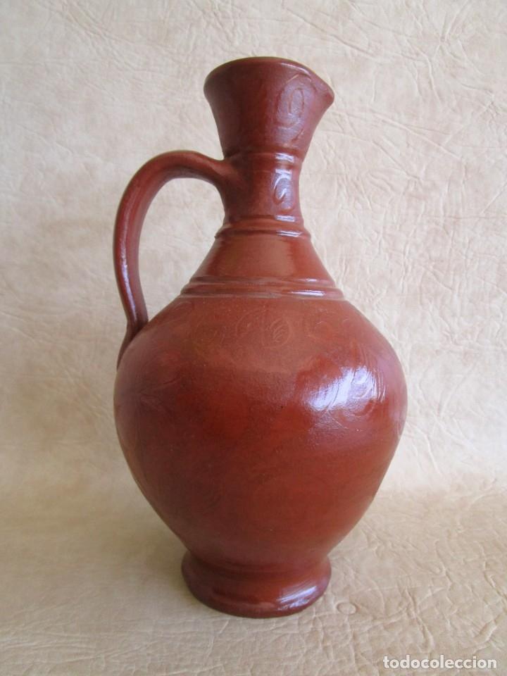 Antigüedades: jarra ceramica motivos florales 26 cm - Foto 4 - 172900207