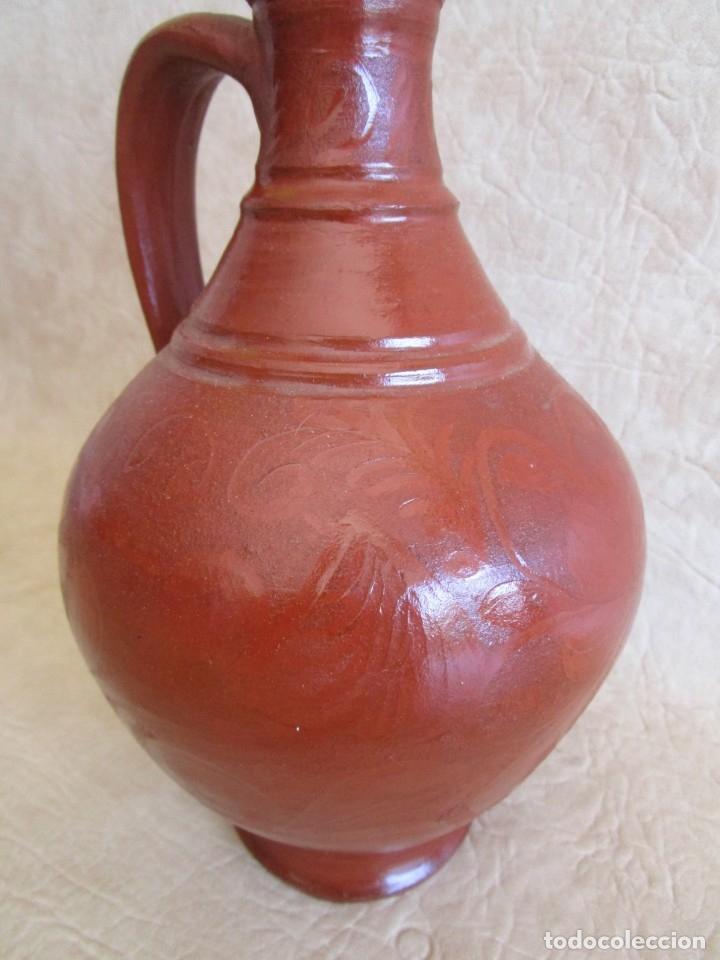 Antigüedades: jarra ceramica motivos florales 26 cm - Foto 5 - 172900207