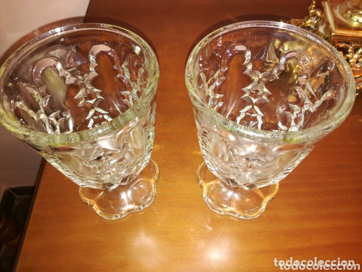 Antigüedades: Pareja de antiguas copas cristal Cartagena - Foto 4 - 172900825