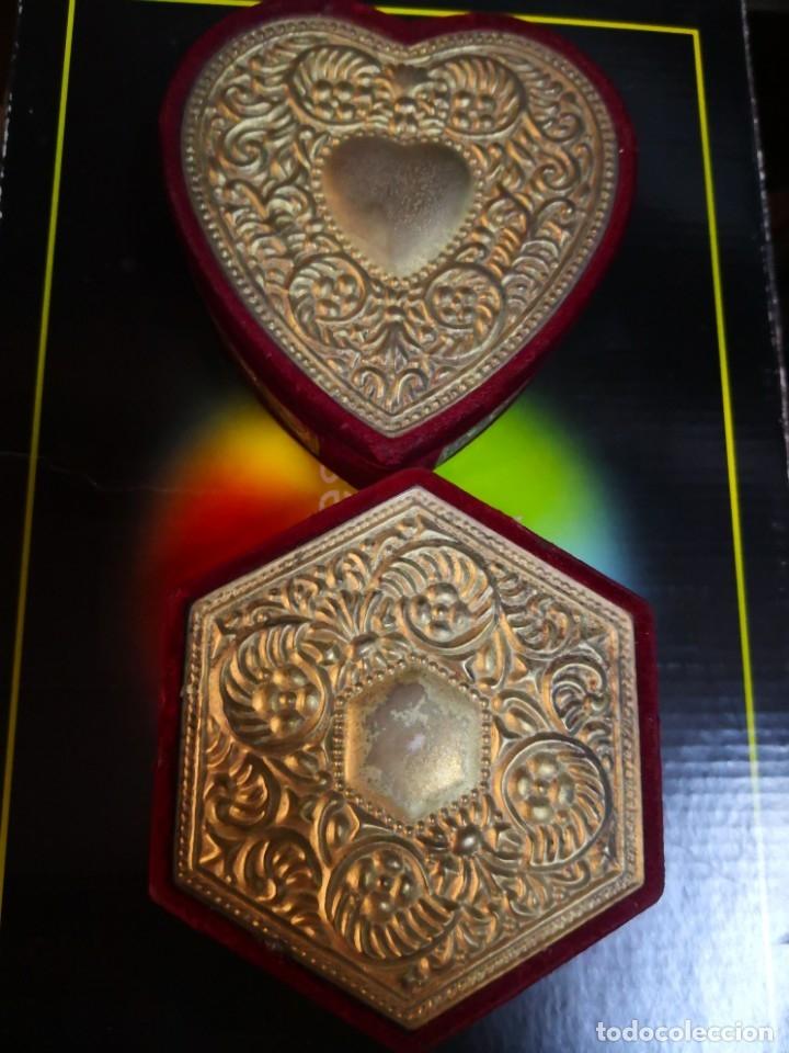 2 BONITOS JOYEROS DE TERCIOPELO Y METAL 10X10X4,5 APROXIMADAMENTE (Antigüedades - Moda - Otros)