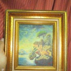 Antigüedades: CUADRO OLEO FIRMADO CON MARCO DE MADERA DORADO. Lote 172920865