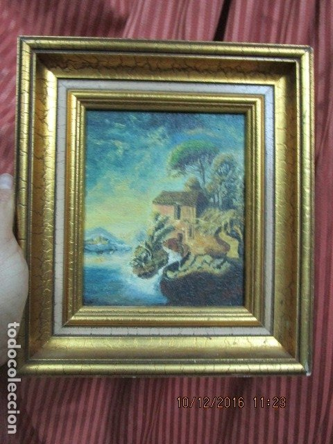 Antigüedades: cuadro oleo firmado con marco de madera dorado - Foto 3 - 172920865
