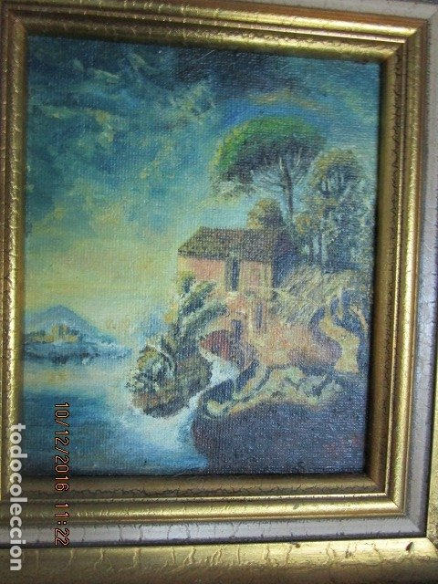 Antigüedades: cuadro oleo firmado con marco de madera dorado - Foto 5 - 172920865