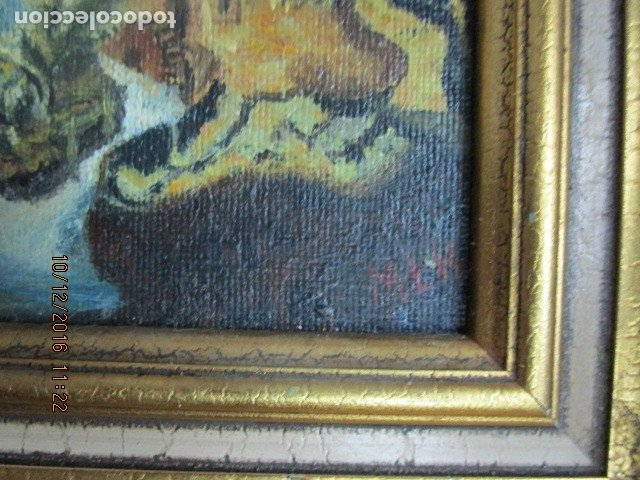Antigüedades: cuadro oleo firmado con marco de madera dorado - Foto 4 - 172920865