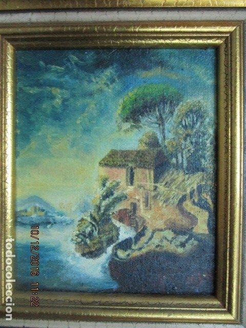 Antigüedades: cuadro oleo firmado con marco de madera dorado - Foto 2 - 172920865