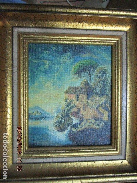 Antigüedades: cuadro oleo firmado con marco de madera dorado - Foto 6 - 172920865