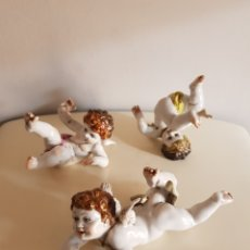 Antigüedades: LOTE 3 QUERUBINES ANGELITOS PORCELANA ALGORA ANTIGUA PERFECTO ESTADO. Lote 172929190