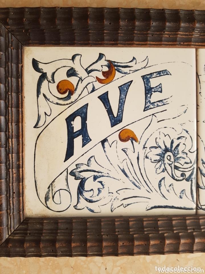 Antigüedades: Cuadro de Baldosas azulejos cerámica Ave Maria con Virgen y querubines - Foto 3 - 172938660