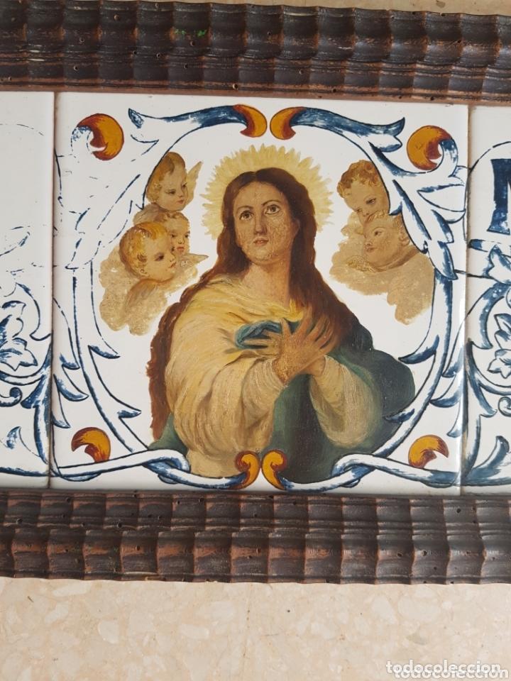 Antigüedades: Cuadro de Baldosas azulejos cerámica Ave Maria con Virgen y querubines - Foto 4 - 172938660