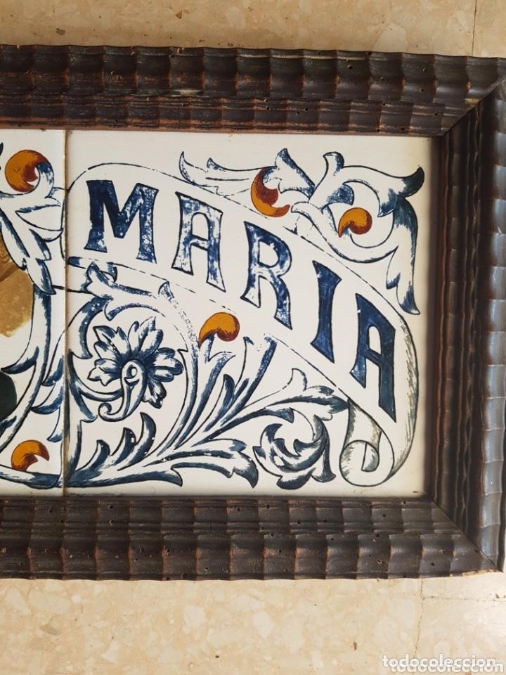 Antigüedades: Cuadro de Baldosas azulejos cerámica Ave Maria con Virgen y querubines - Foto 5 - 172938660