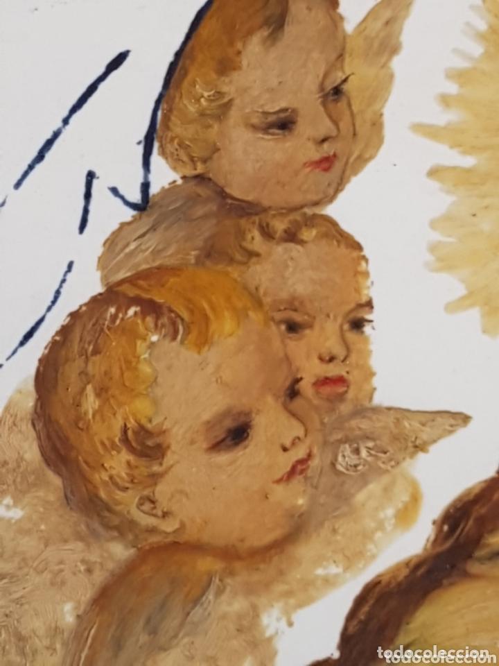 Antigüedades: Cuadro de Baldosas azulejos cerámica Ave Maria con Virgen y querubines - Foto 6 - 172938660