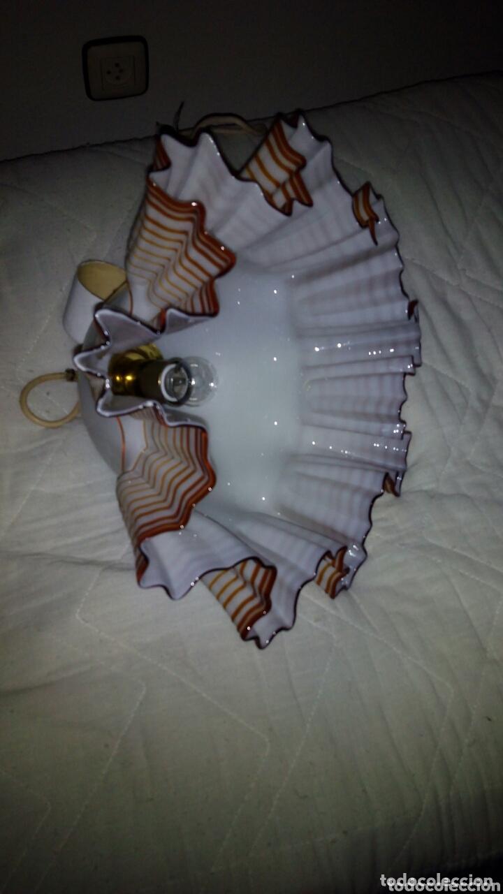 ESPECTACULAR LAMPARA OPALINA,CRITAL SOPLADO.44 CM (Antigüedades - Iluminación - Lámparas Antiguas)