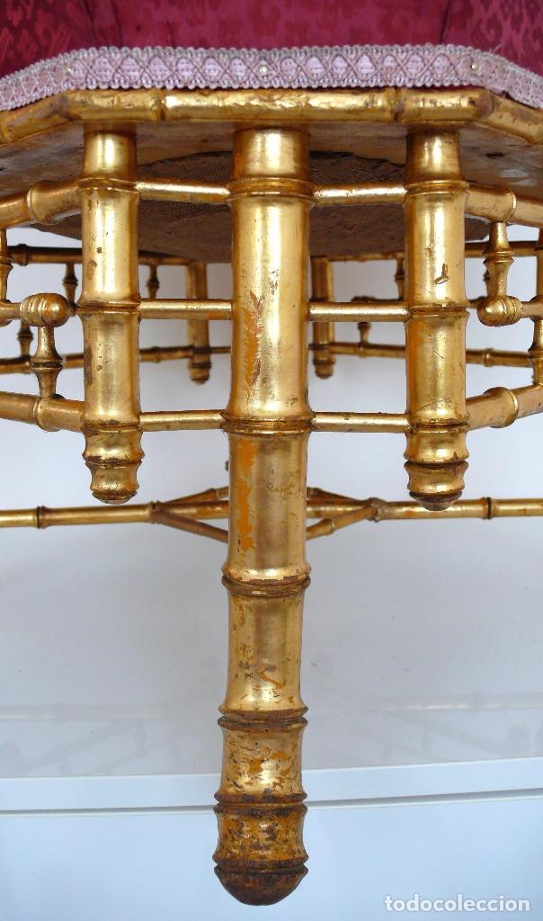 Antigüedades: TABOURET REPOSE PIEDS NAPOLEON III BAMBOU REPOSA PIES SILLA BAMBU DORADO XIX FOOT STOOLS GILTWOOD - Foto 3 - 172965820