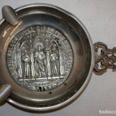 Antigüedades: PRECIOSO CENICERO - EN LATON PLATEADO - CASA VALENTI.. Lote 172968912