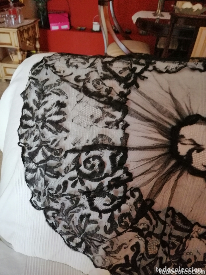 Antigüedades: Antigua mantilla de terno para restaurar o enmarcar - Foto 12 - 172972294