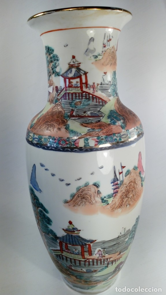 JARRÓN EN PORCELANA CHINA PINTADO A MANO. ESCENAS PAISAJÍSTICAS. PRIMER CUARTO DEL S. XX. (Antigüedades - Porcelanas y Cerámicas - China)