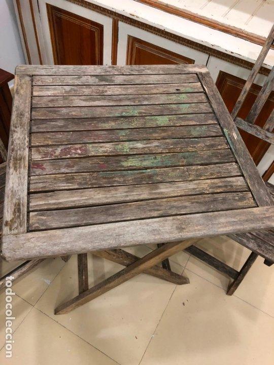 Antigüedades: ANTIGUO CONJUNTO DE MESA Y SILLAS PLEGABLES - Foto 3 - 172992764