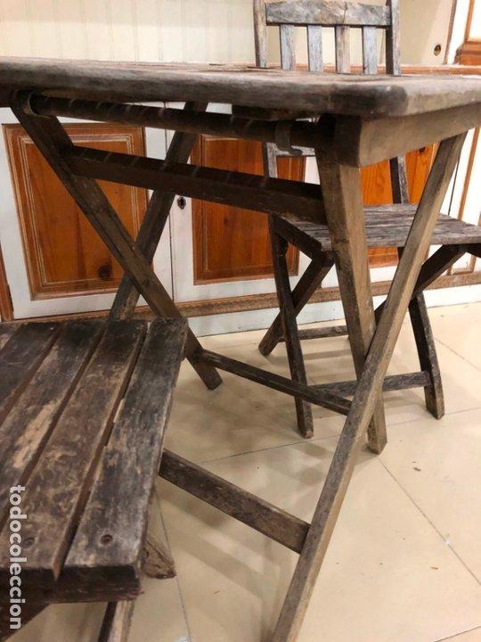 Antigüedades: ANTIGUO CONJUNTO DE MESA Y SILLAS PLEGABLES - Foto 9 - 172992764