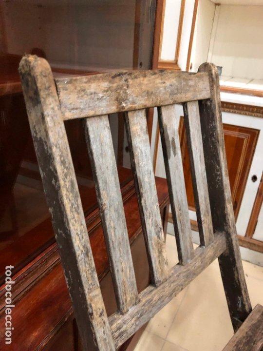 Antigüedades: ANTIGUO CONJUNTO DE MESA Y SILLAS PLEGABLES - Foto 10 - 172992764