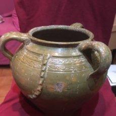 Antigüedades: ANTIGUA JARRA POPULAR VIDRIADA S.XIX ESGRAFIADA 3 ASAS . Lote 173013088