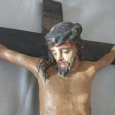 Antigüedades: CRISTO TALLA EN MADERA, SIGLO XIX POLICROMADO. Lote 173019032