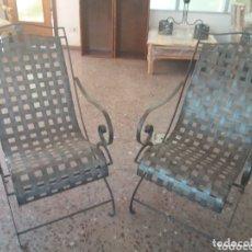 Antigüedades: PAREJA DE SILLONES DE FORJA. Lote 173033467