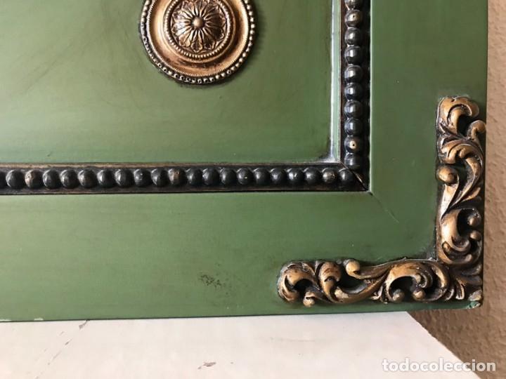 Antigüedades: ESPEJO ESTILO LUIS XVI EN MADERA VERDE CON MOTIVOS DORADOS, COPETE MODULABLE - Foto 9 - 173035939