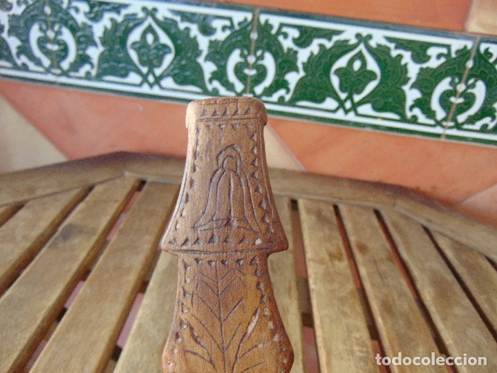 Antigüedades: ANTIGUO CUCHARON O CUCHARA EN MADERA TALLADA Y CON INICIALES ARTE PASTORIL - Foto 2 - 173057505