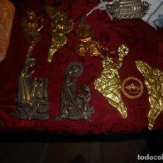 Antigüedades: LOTE DE FIGURAS EN LATON PARA COMPOSICION D RELICARIOS Y OTROS. Lote 173072510