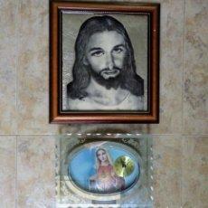 Antigüedades: RELOJ CRISTAL VIRGEN MARIA Y CUADRO JESUCRISTO MARCO MADERA. Lote 173072718