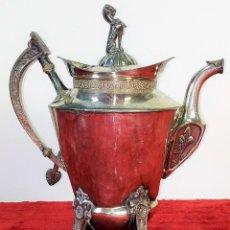 Antigüedades: TETERA O CAFETERA. ESTAÑO CHAPADO EN PLATA. BRED AND BARTON. INGLATERRA. XIX. Lote 173074750