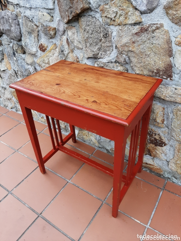 Antigüedades: PRECIOSA MESA DE MADERA DE PINO - MESITA AUXILIAR - AÑOS 30-40 - Foto 14 - 173084055