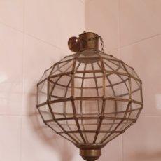 Antigüedades: PRECIOSA Y ANTIGUA LAMPARA O FAROL DE GRAN TAMAÑO PARA TECHO. Lote 158977028