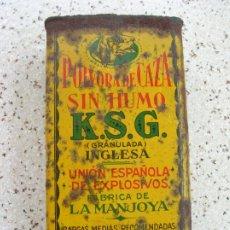 Antigüedades: CAJA DE LATA ,DE POLVORA DE CAZA SIN HUMO ,K,S,G GRANULADA INGLESA ,250. Lote 173139259