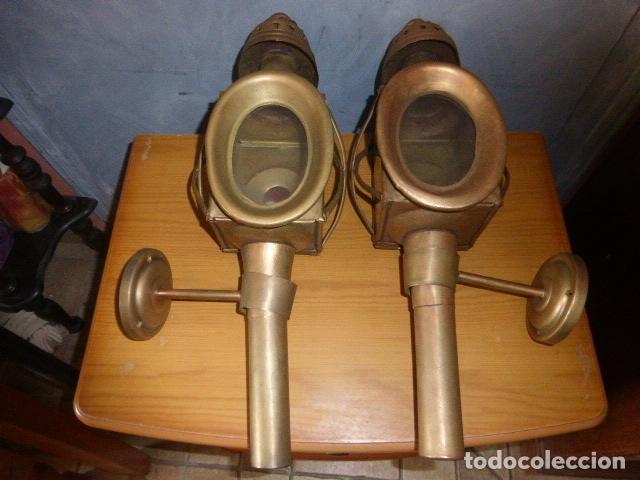 PAREJA DE LAMPARAS DE CARRUAJE (Antigüedades - Técnicas - Rústicas - Caballería Antigua)