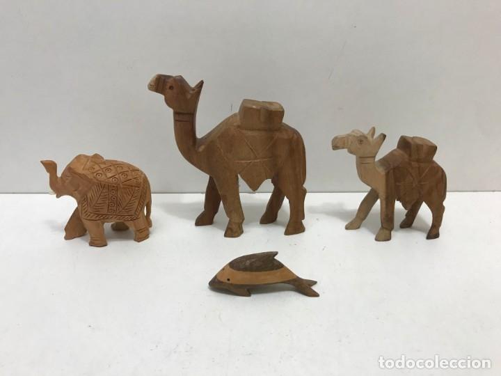LOTE 4 ANIMALES DE MADERA (Antigüedades - Hogar y Decoración - Otros)