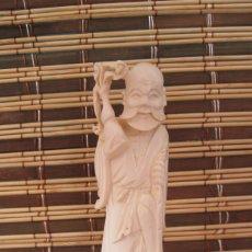 Antigüedades: FIGURA DE MARFIL. ANCIANO CON BASTON , CON CERTIFICADO DE AUTENTICIDAD, PRINCIPIOS 1900. Lote 173167095
