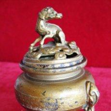 Antigüedades: INCENSARIO ORIENTAL EN CALAMINA DORADA CON FIGURA DE DRAGÓN. Lote 173226740